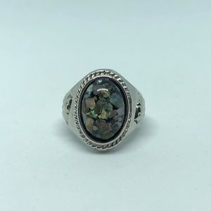 Jewelry - Abalone Shell Silver Plated Ring Size 6